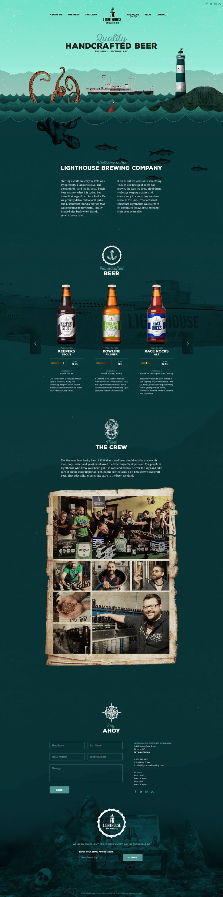 Lighthouse Brewing Co. Scrolling down the page takes you deeper underwater, and more in depth about the company and beer. #webdesign