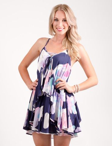 Seabury dress from www.belleroad.co.nz Ruffled abstract floral party dress