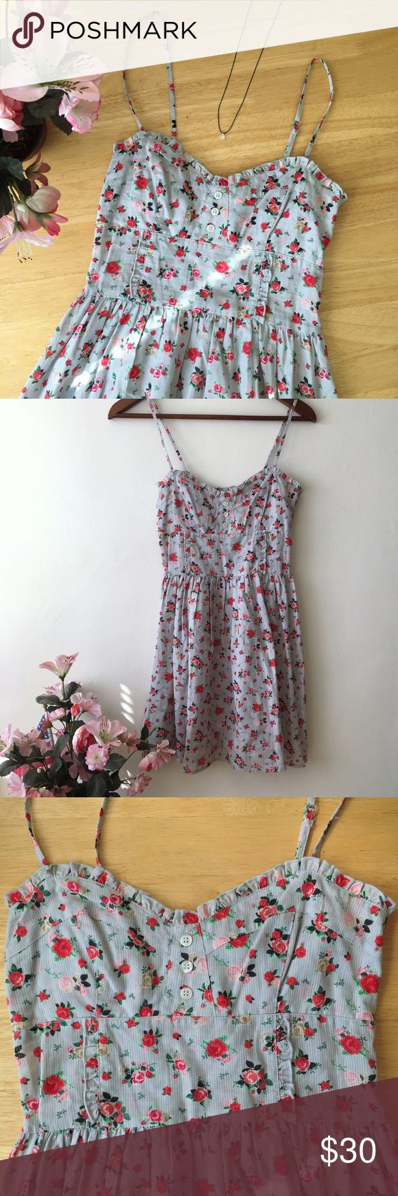Divided by H&M Blue Spaghetti Strap Floral Dress NWOT H&M Floral Dress with Lace and Button Detail. Never worn! Beautiful sold out dress just in time for summer. Runs small, fits closer to size 2. H&M Dresses