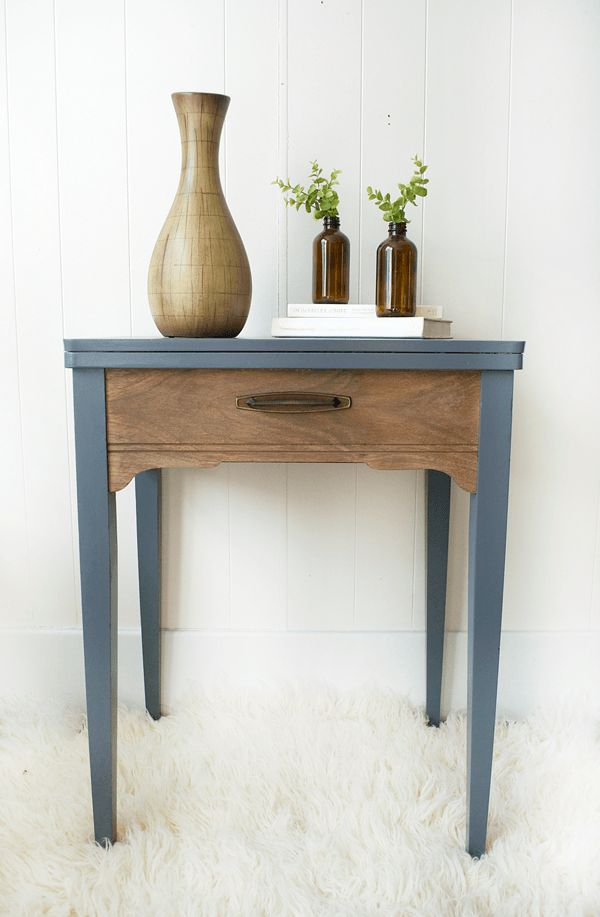 A sewing table gets turned into a gray and wood side table with DecoArt's new Satin Enamel paint!