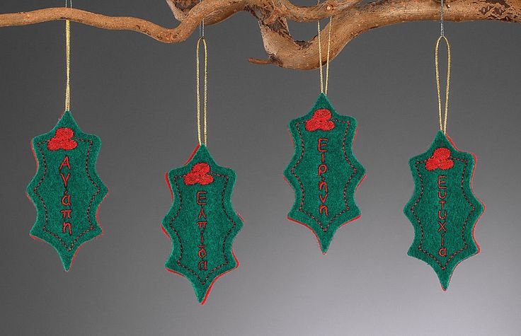 www.mpomponieres.gr Χριστουγεννιάτικα κρεμαστά στολίδια για το δέντρο με σχήμα γκι όπου το κάθε ένα έχει κεντημένη μια ευχή .Η διάσταση του κρεμαστού γκι είναι 15,5 Χ 5 cm . Όλα τα χριστουγεννιάτικα προϊόντα μας είναι χειροποίητα ελληνικής κατασκευής και μπορεί να γίνει όποια αλλαγή θέλετε στα χρώματα ακόμα και στα σχέδια. http://www.mpomponieres.gr/xristougienatika/xristougeniatika-kremasta-stolidia-gki-apo-tsoxa.html #burlap #christmas #ornament #felt #stolidia #xristougenniatika