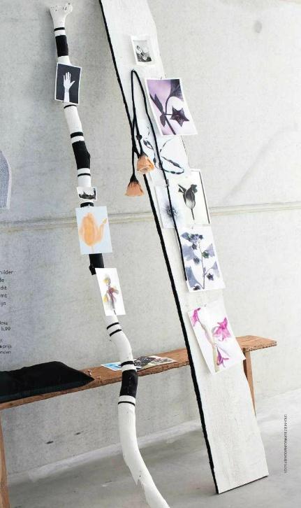 picture display from vt wonen  Foto's op zwart ding of tegen muurding deel ernaast: 2 of 3 stokken verticaal tegen de muur en dan me van die gouden punaises