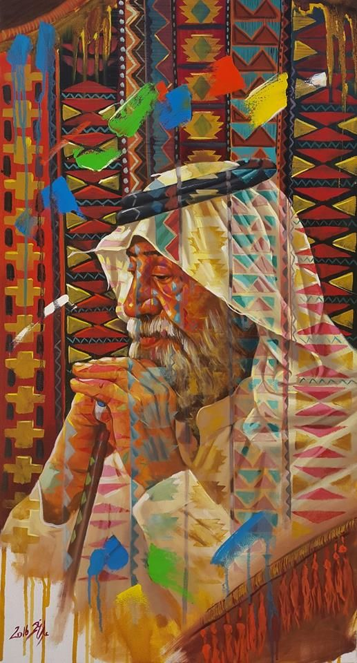 portrait of a man with beautiful motifs from southern Iraq by  ALI NEMAH