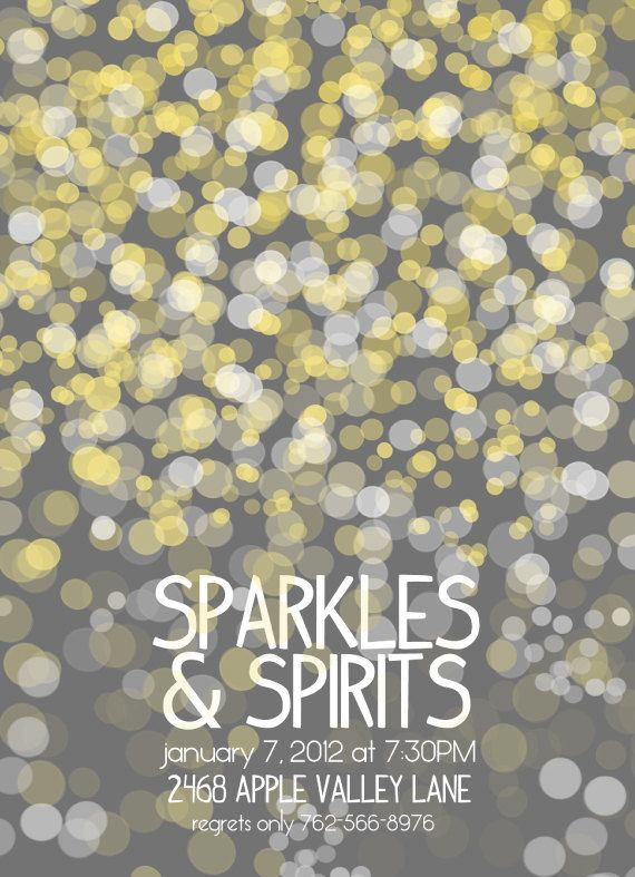Sparkles and Spirits Party Invitation New Years Eve Rehearsal Dinner Wedding Candlelight Birthday Party Gray Printable 5x7 vertical. $18.00, via Etsy.