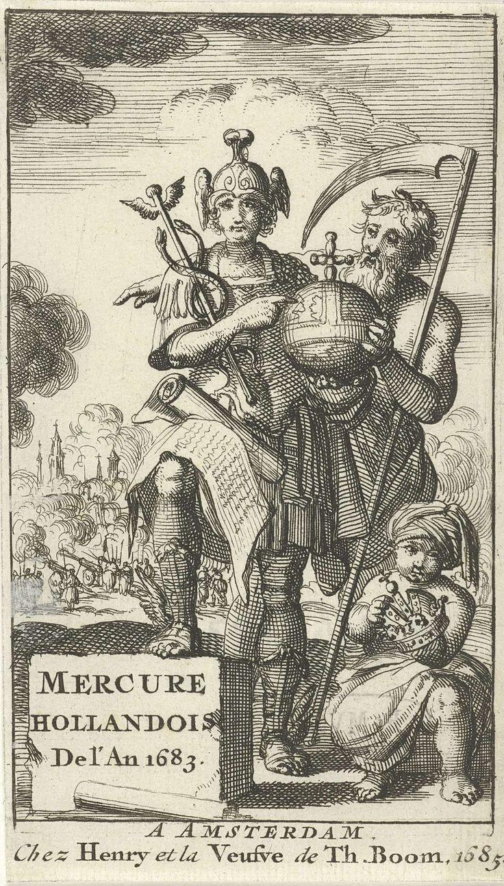 Jan Luyken | Mercurius en Vader Tijd houden samen een rijksappel vast, Jan Luyken, Hendrick Boom, Dirk Boom (I, wed.), 1683 | Mercurius en Vader Tijd houden samen een rijksappel vast. Rechts op de voorgrond staat een Turks jongetje met de keizerskroon in zijn handen.