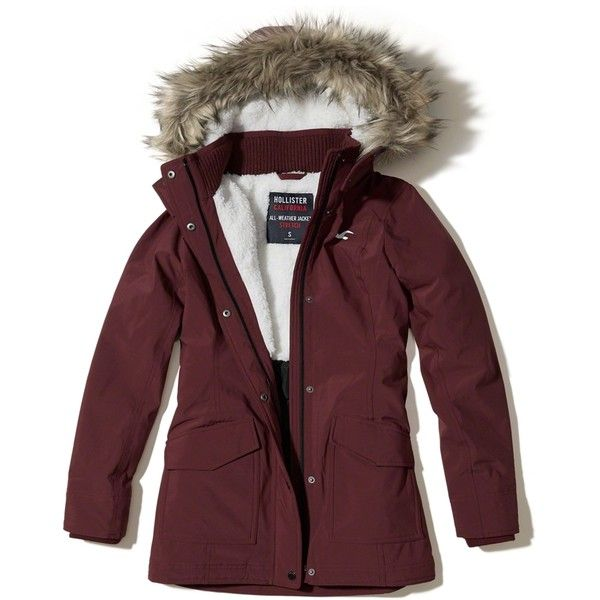 Hollister All-Weather Stretch Sherpa-Lined Parka ($120) ❤ liked on Polyvore featuring outerwear, coats, burgundy, utility parka, hooded parka coat, faux fur trim coats, faux fur trim parka and faux fur trim hooded parka