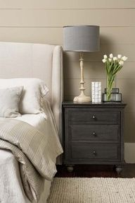 bedroom decorating ~ really like the color of the night stand