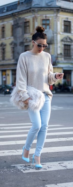 cozy cream jumper with baby blue pants