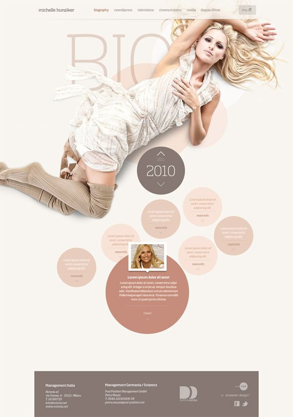 Michelle Hunziker / Official 2011 website by Scozzese Design , via Behance