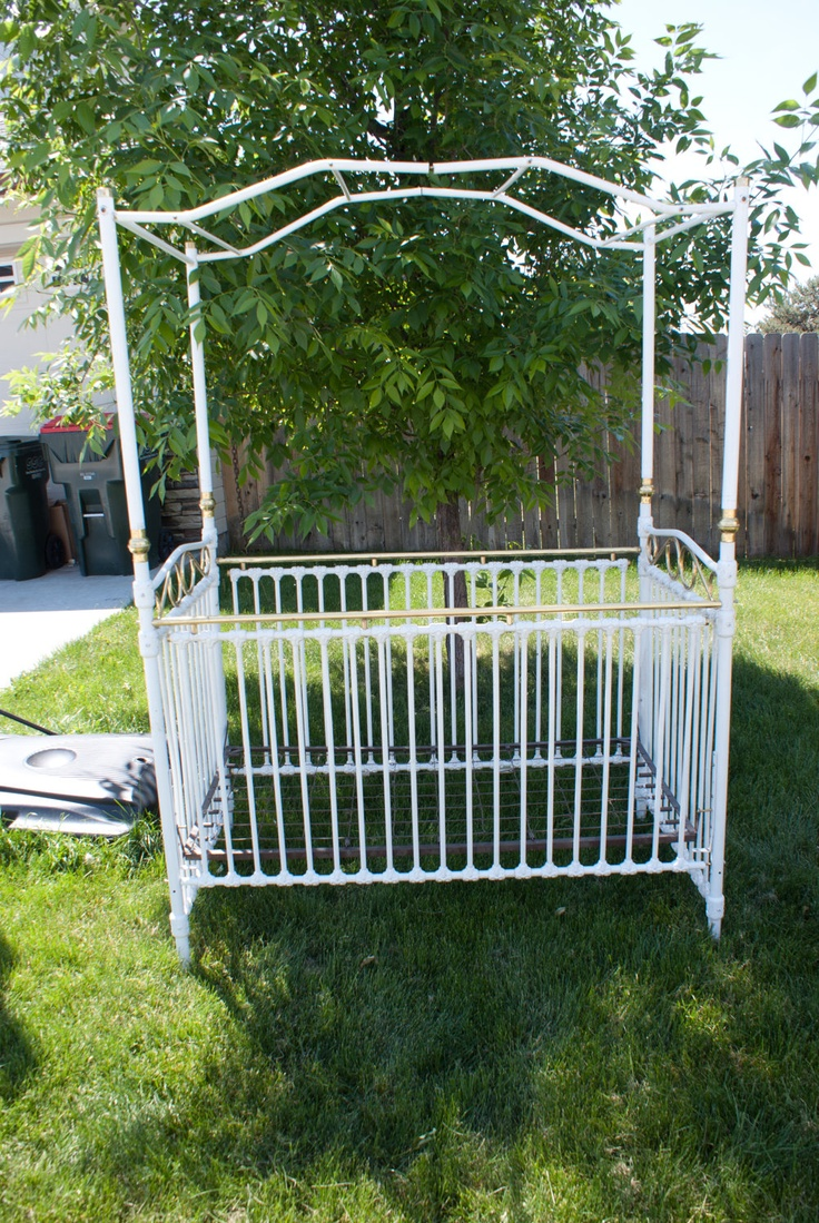 Emma iron crib for sale - Vintage Cast Iron Canopy Crib 500 00 Via Etsy You Could Paint It