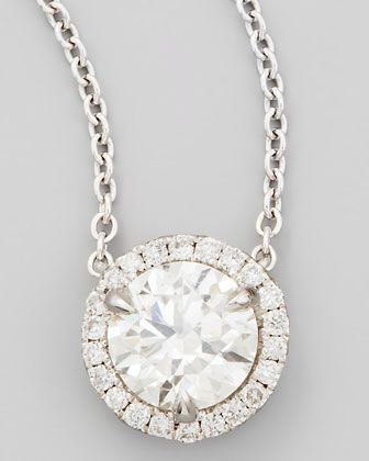 18k White Gold Diamond Solitaire Pendant Necklace with Pave Halo by NM Diamond at Neiman Marcus.
