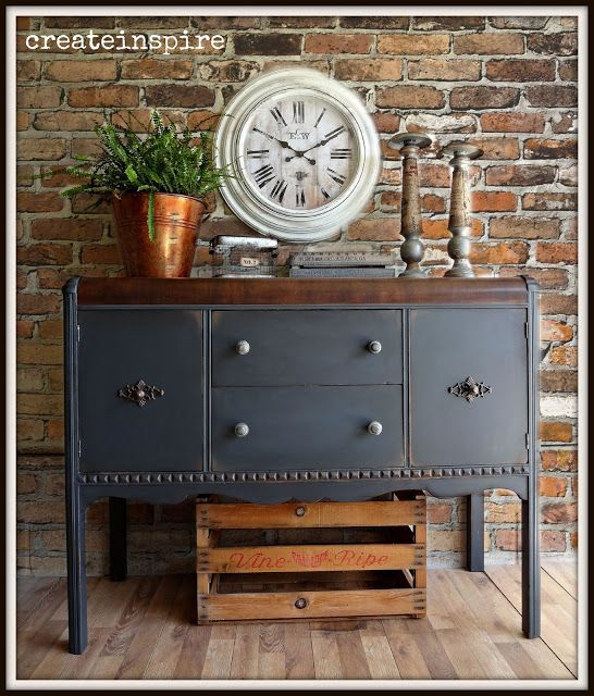 [CasaGiardino]  ♛  Paint colour suggestion for pine cupboard.  {createinspire}: Vintage Buffet in Iron Ore