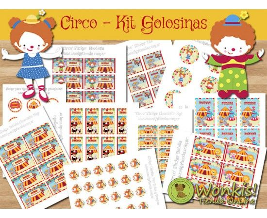 Circo - Kit Candy Bar (Golosinas) - Con Textos Editables  http://www.wonkistienda.com.ar/circo-kit-golosinas.html