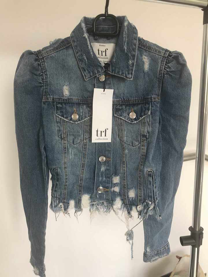 352631a54be Zara NEW Denim Puff Sleeve Shoulder Jeans Jacket Size S / UK 10 / EU ...