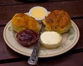 British tea time. scones with jam and clotted cream... Mmmmmmmmm!