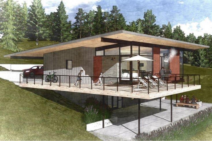10 Awesomely Simple Modern House Plans Sloping Lot House Plan Modern Style House Plans Slope House Design Small house design on hill slopes