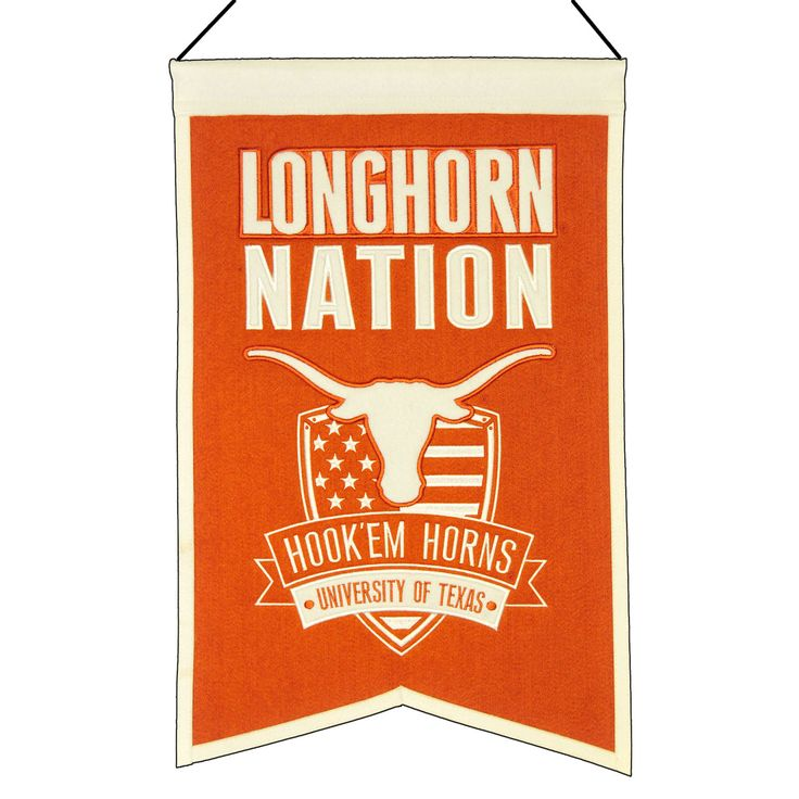 """This 14"""" x 22"""" beautifully embroidered banner celebrates Texas and the school logo."""