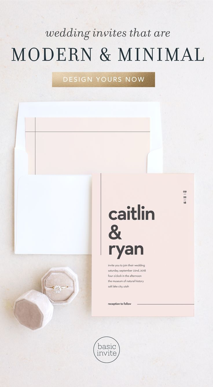 Design minimalist wedding invitations with clean lines, modern ...