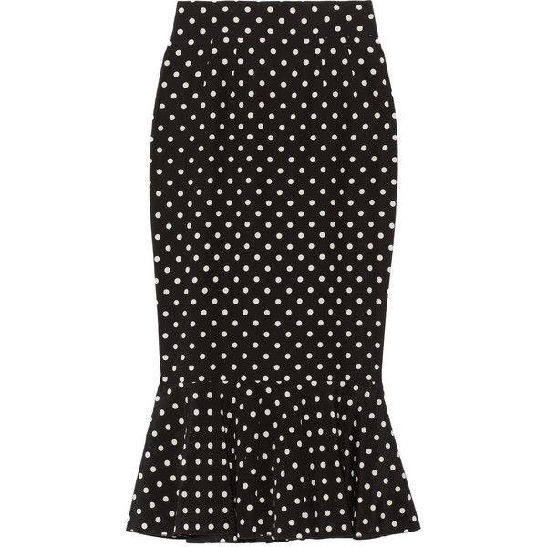 Dolce & Gabbana Polka-dot stretch-silk pencil skirt found on Polyvore