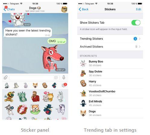 Telegram Trending Stickers, Storage and Telegram Camera