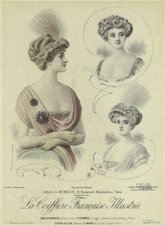 """French Fashion Chromolithograph victorian hairstyles plate 1900s - """"La Coiffure Francaise Illustree"""""""