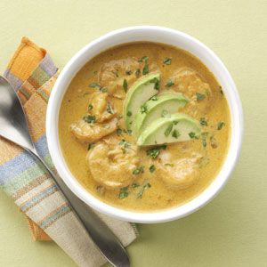 Mexican Shrimp Bisque, try this with 1 cup whipping cream, leave out the water, and 3oz cream cheese serve over pasta instead of as a bisque. Garnish with avocado, cilantro and scallions