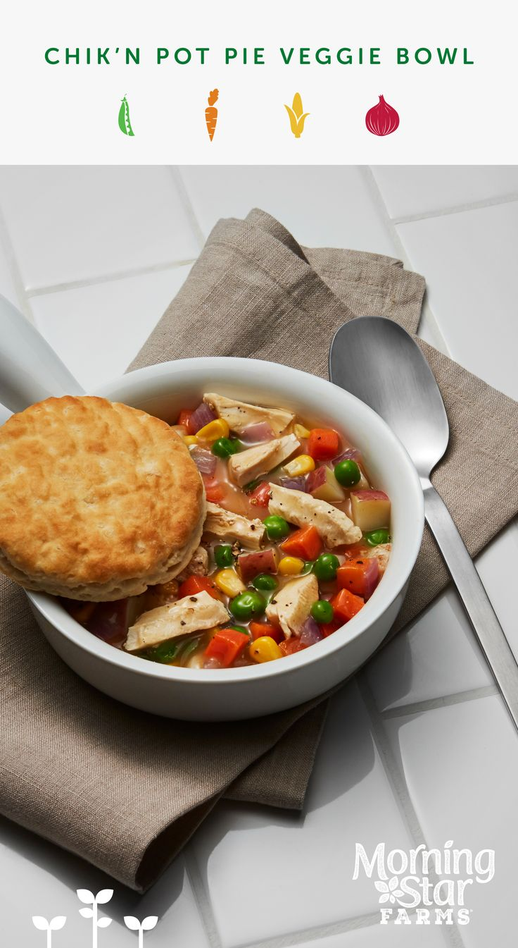 For a quick meal packed with protein and veggies, try our microwavable Chik'n Pot Pie Veggie Bowl