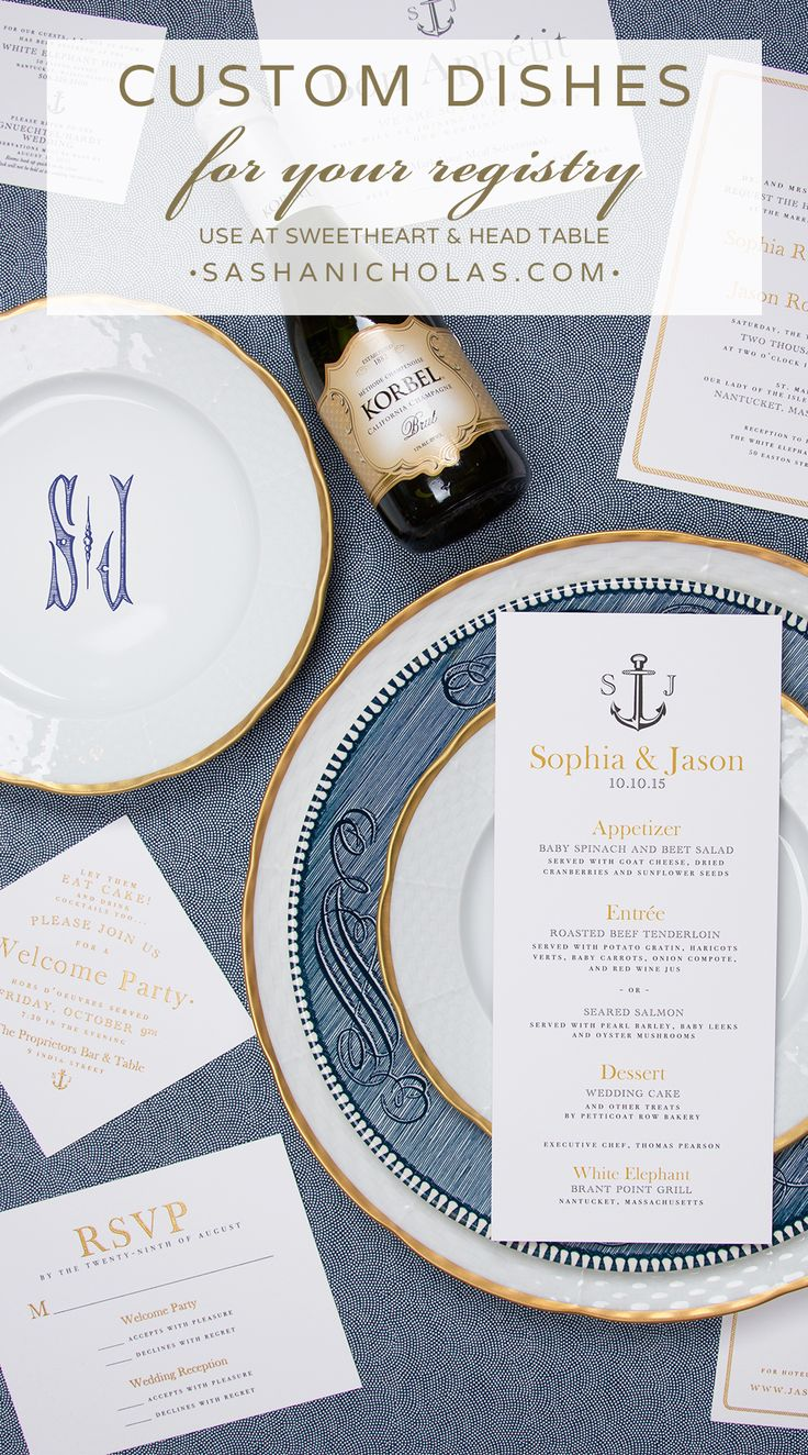 Choose dishes with your meaning and style with custom inscription on back-your names, wedding date and location, your vows, or a private message to each other to be revealed at your reception as you celebrate your first meal together. This Nantucket invitation suite is by Abigail C Designs for Soiree Floral. Have a custom monogram? Use it on your dishes! www.sashanicholas.com