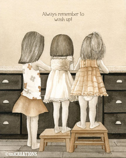 Wash Up - 5x7 archival watercolor print by Tracy Lizotte. $12.00, via Etsy.