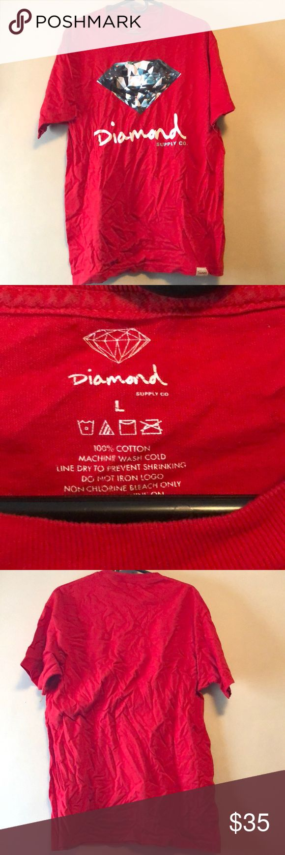 Red diamond supply shirt -excellent condition (just wrinkled) -men's size large  -no stains , tears or rips Diamond Supply Co. Shirts Tees - Short Sleeve