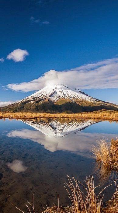 Mount Taranaki, or Mount Egmont, south west coast of New Zealand's North Island