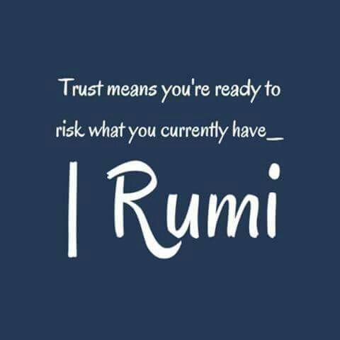 Trust means you're ready to risk what you currently have. -Rumi
