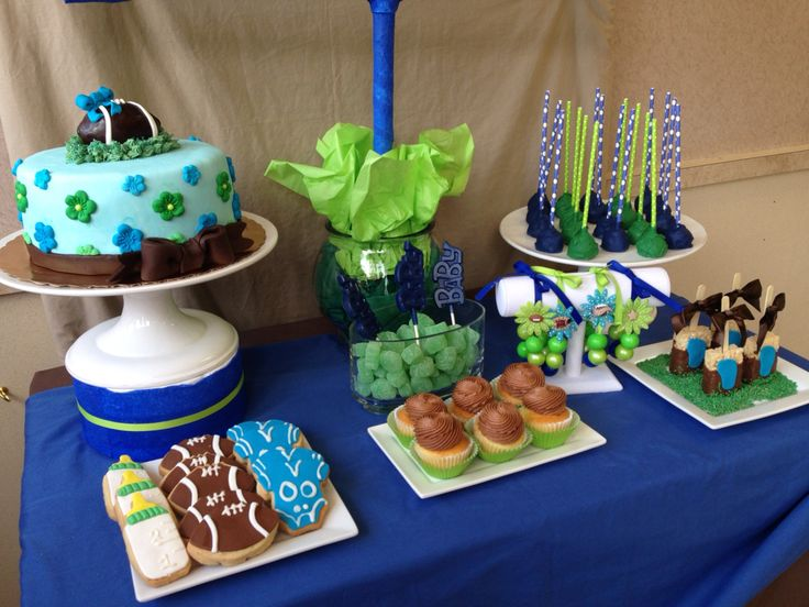 Football Baby Shower Blue and Green Cake and Candy Table  #livaysweetshop #sweetshop #goodies #bakery #bakerynj  #livaysweetshop  #cupcakes #cakesnj #cupcakesnj #cakepops #customcakes #fondantcakes #fondant #cakes #chocolates #plainfieldnj #icecreamshop #candybuffet   #candytable #candybar #cookies #cakesny #candyny #sweetooth