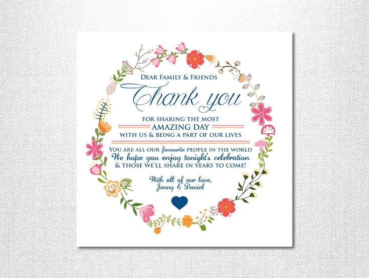 Floral Wreath Thank you Card ~ Wedding Thank you ~ Floral Thank you ~ Thank you Cards ~ Floral Wedding ~ Printable Thank you ~ Guest Card by LoveStoryInvitations on Etsy https://www.etsy.com/au/listing/260485601/floral-wreath-thank-you-card-wedding
