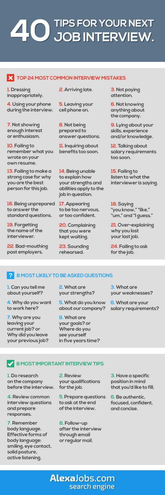 40 Tips For Your Next Job Interview. #Jobsearchtips