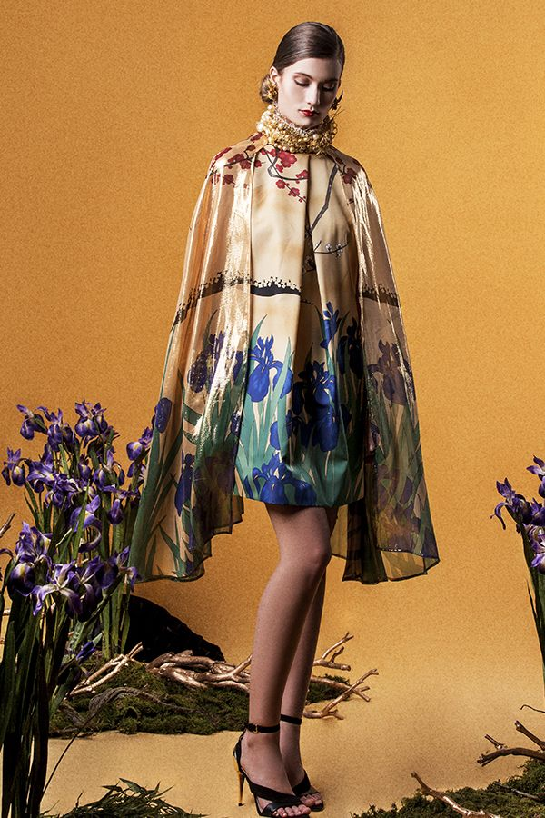 IRIS DRESS WITH SILK CAPE