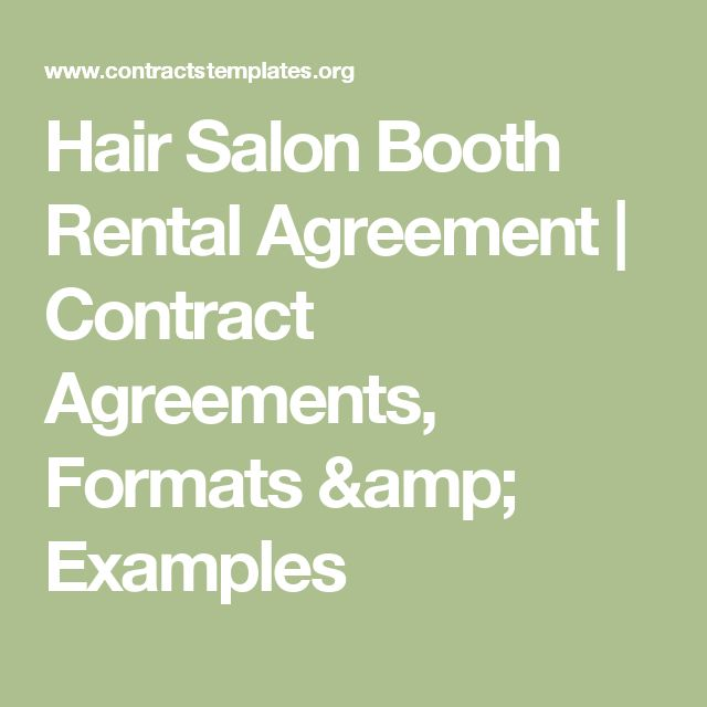 Hair Salon Booth Rental Agreement | Contract Agreements, Formats & Examples