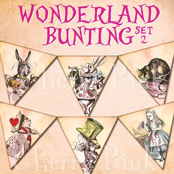ALICE in WONDERLAND BUNTING set 2 Alice by CherryPinkPrints, $5.00