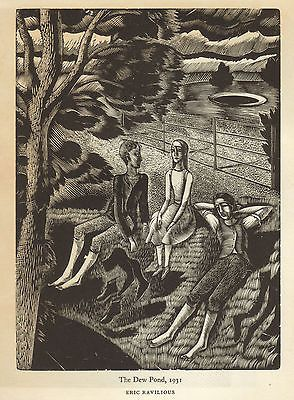 Vintage print of wood engravings by Eric Ravilious - The Dew Pond