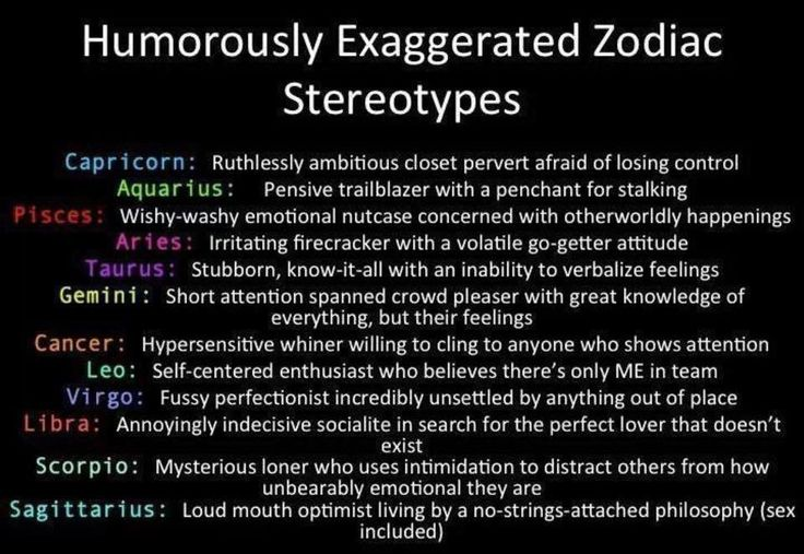 Humorously Exaggerated Zodiac Stereotypes