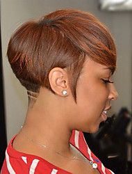 Stilig og utsøkt skrå fryns kort rett hår humant hår parykker