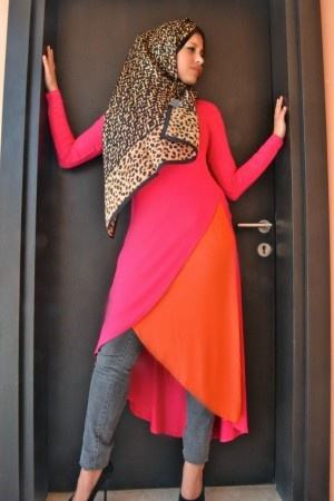 Silk Cotton PETAL Hilow-- PINK and ORANGE - Abaya Addict