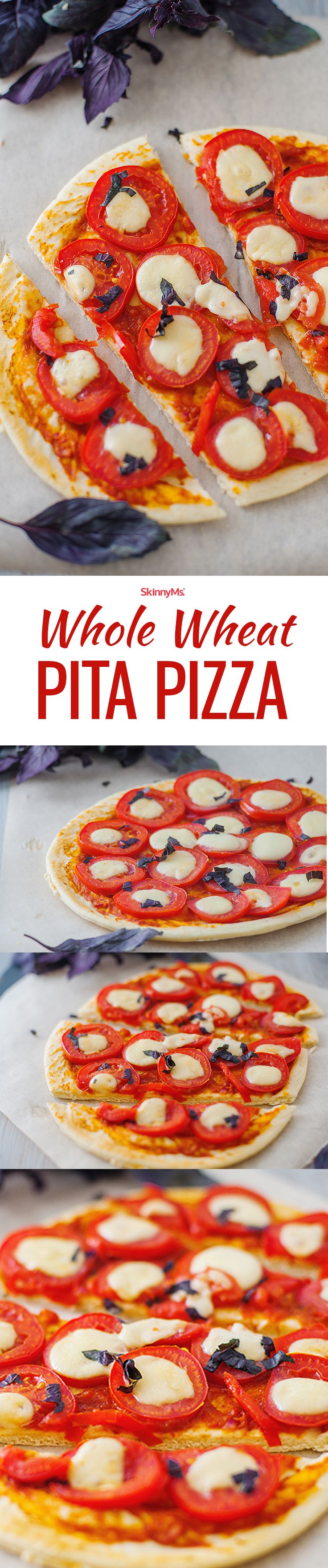 This Whole Wheat Pita Pizza is a quick and easy meal that's perfect for a busy weeknight!