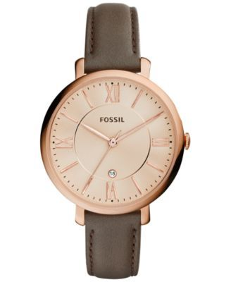 Fossil Women's Jacqueline Gray Leather Strap Watch 36mm ES3707