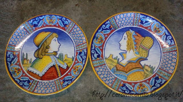 Piatti rinascimentali da muro dipinti a mano 42 cm. #Maiolica #Deruta #Italy http://ceramicamia.blogspot.it/p/piatti.html