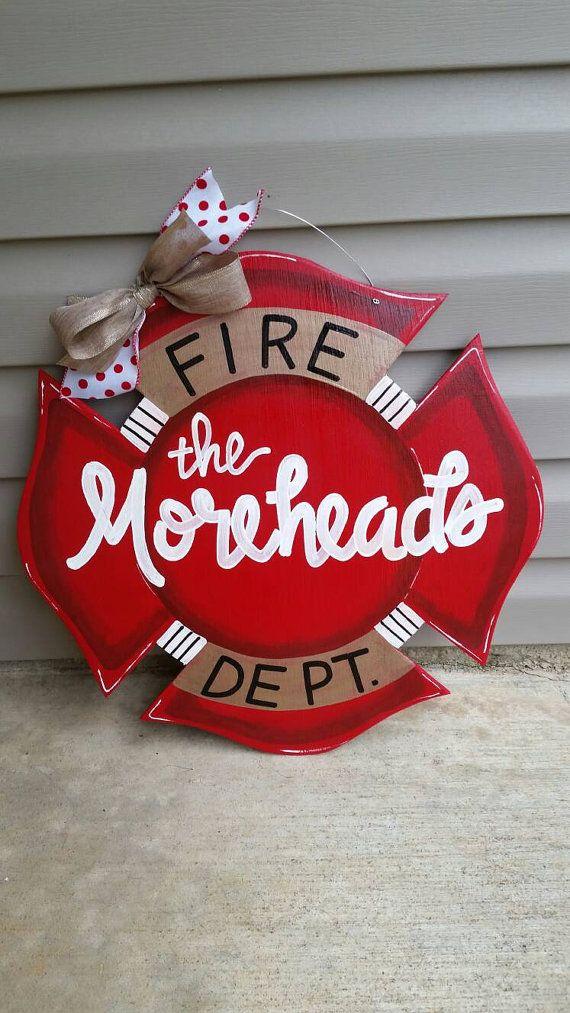 Fire Department emblem door hanger by flourishhomedecor on Etsy