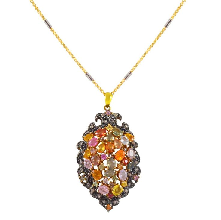 ES194- Ασημένιο επίχρυσο κολιέ με πολύχρωμες πέτρες