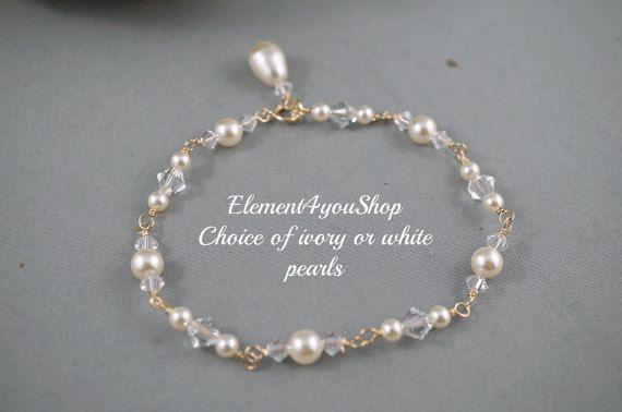 Pulsera novia pulsera de Dama de honor joyería por Element4YouShop