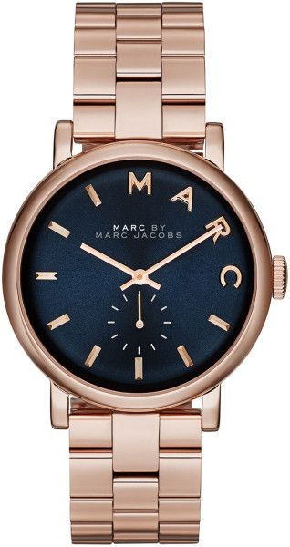 Marc By Marc Jacobs Pink Baker Rose Golden Analog Watch with Bracelet Navy Dial