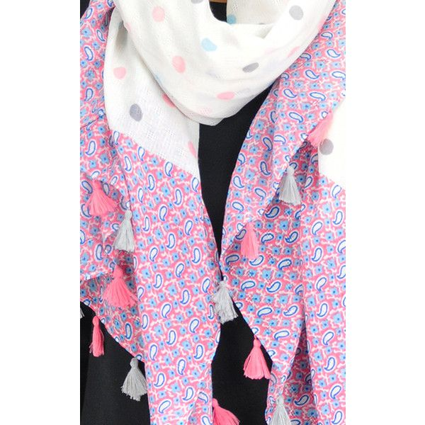 GOLDKID LONDON Dotted Paisley Tassel Scarf (£16) ❤ liked on Polyvore featuring accessories, scarves, pink, polka dot scarves, pink scarves, paisley shawl, pink shawl and tassel scarves